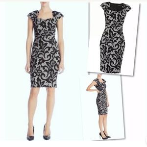 KAREN MILLEN JACQUARD STRAIGHT PENCIL SHEATH DRESS